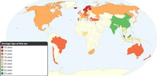 wereldkaart: eerste keer sex