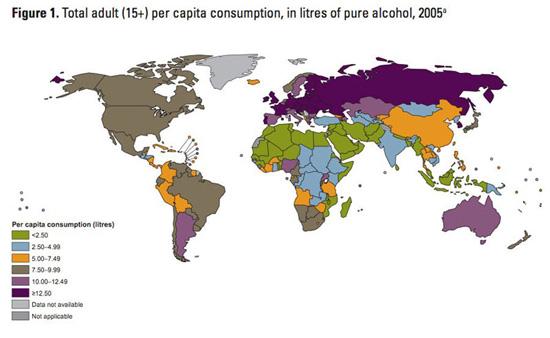 wereldkaart: alcoholconsumptie