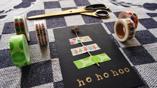 kerstkaart van washi tape