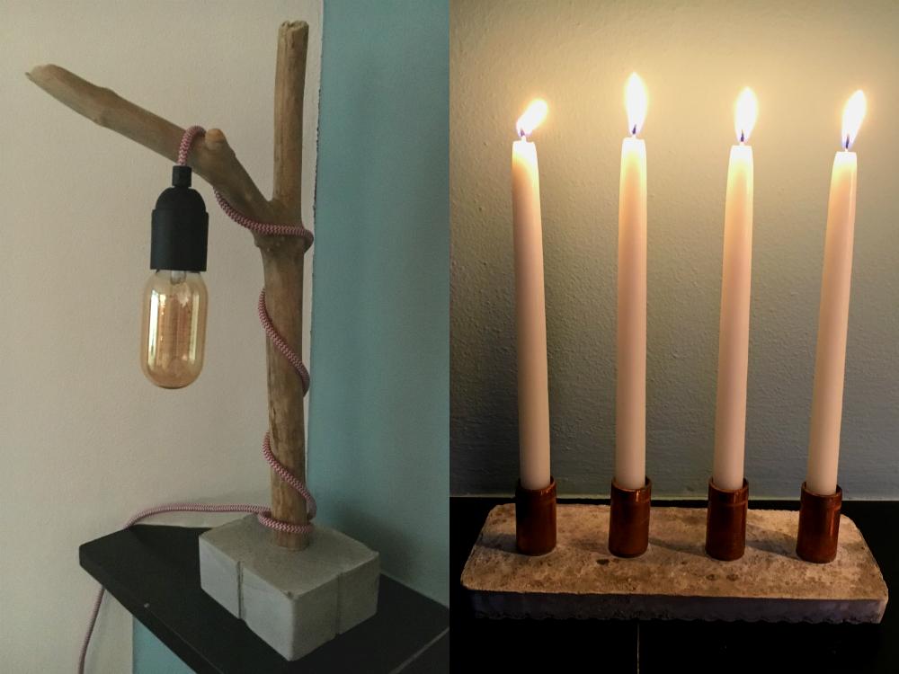 DIY lampje en kandelaar
