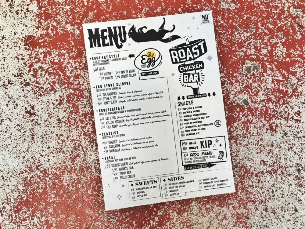 Roast Chicken Bar menukaart