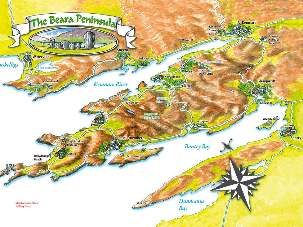 kaart Ring of Beara