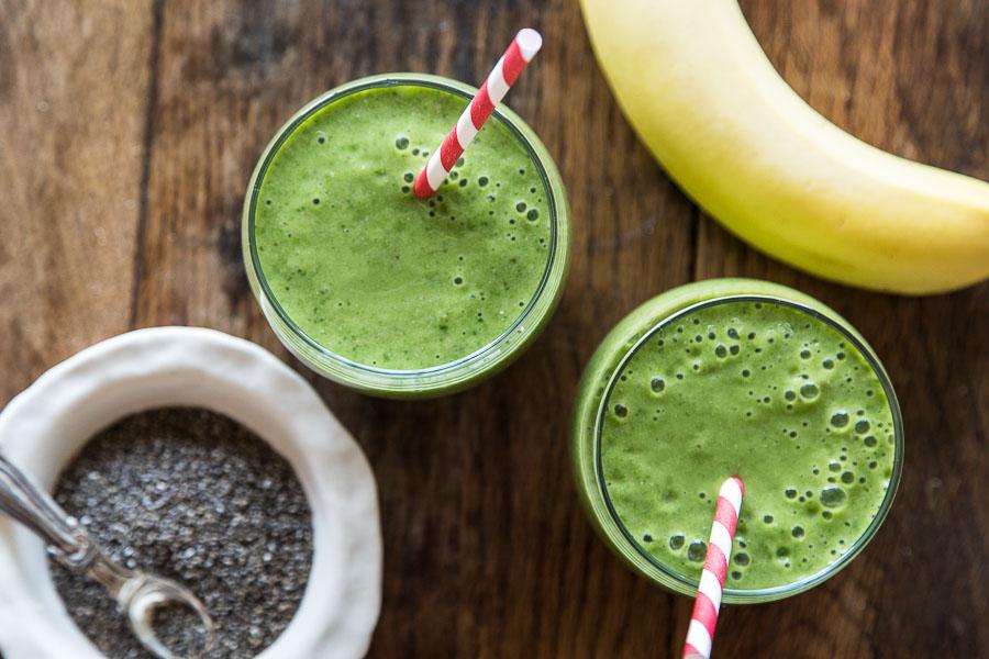 detox kokosmelk smoothie met spinazie/banaan