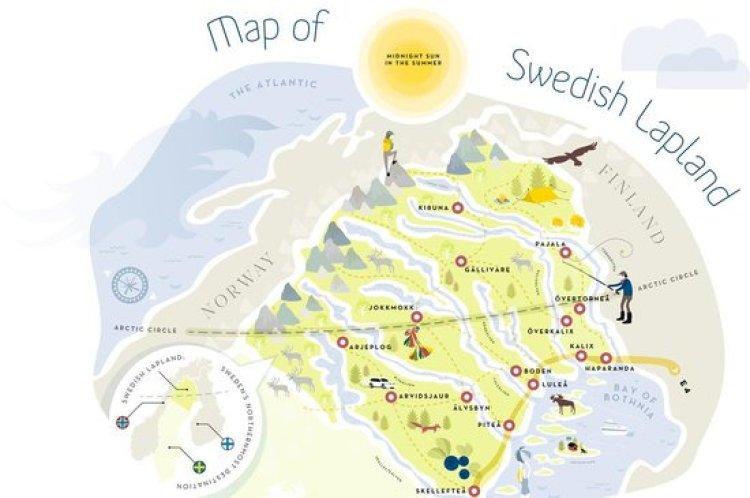 kaart Zweeds Lapland
