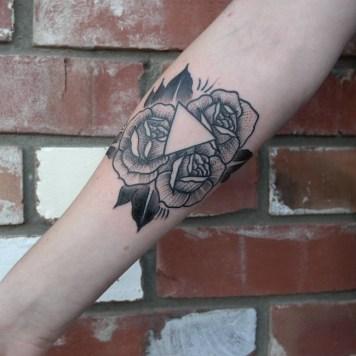 roses triangle tattoo