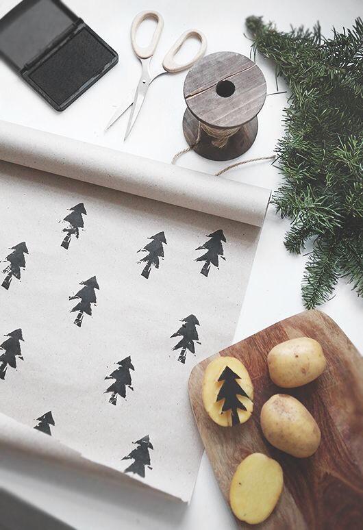 zelf kerstcadeaupapier maken