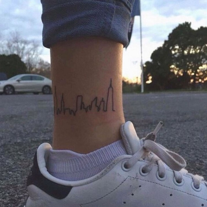 New York skyline tattoos enkel