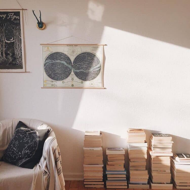 book piles interior