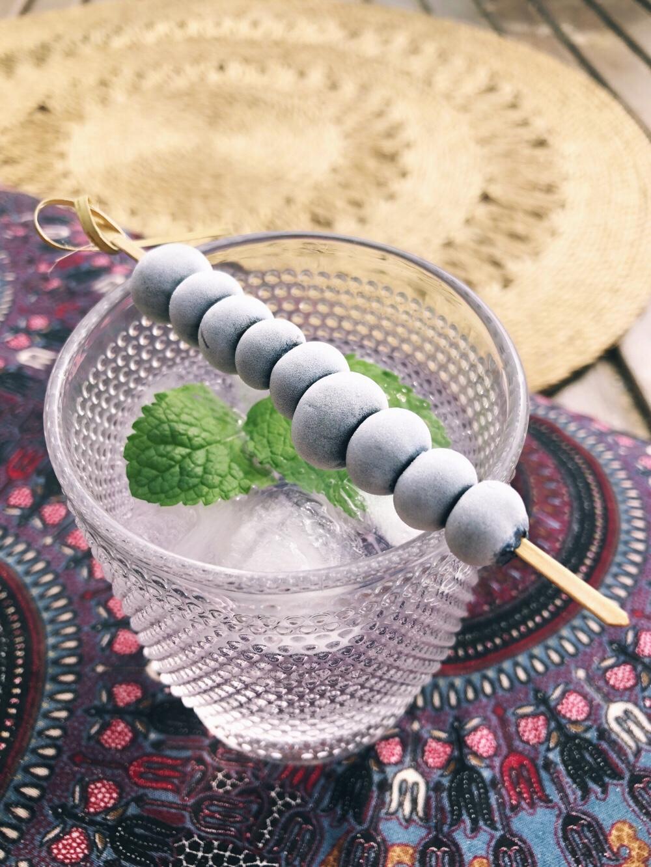 gin tonic met bosbessen en munt