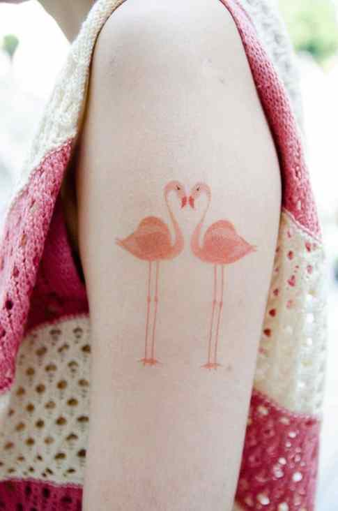 mannetje vrouwtje flamingo tattoo