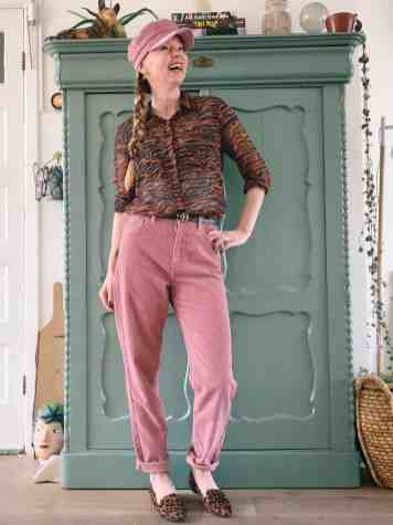 roze broek met dierenprint