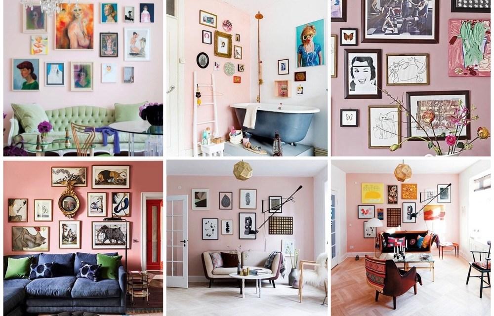 Wooninspiratie  20x een gallery wall op een roze muur