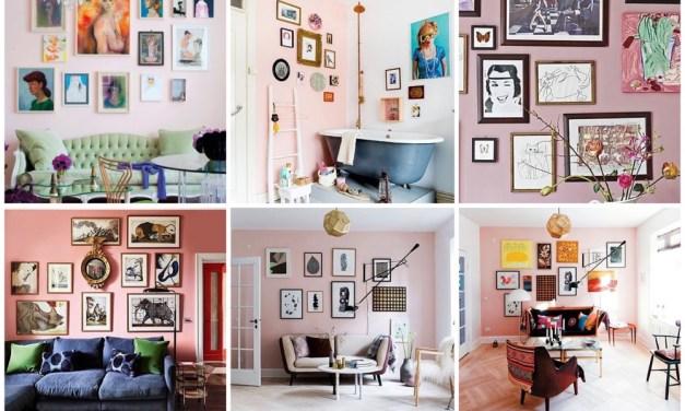 Wooninspiratie |20x een gallery wall op een roze muur