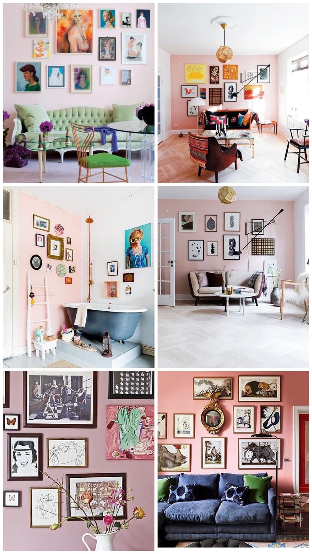 20x gallery wall inspiratie op roze muur