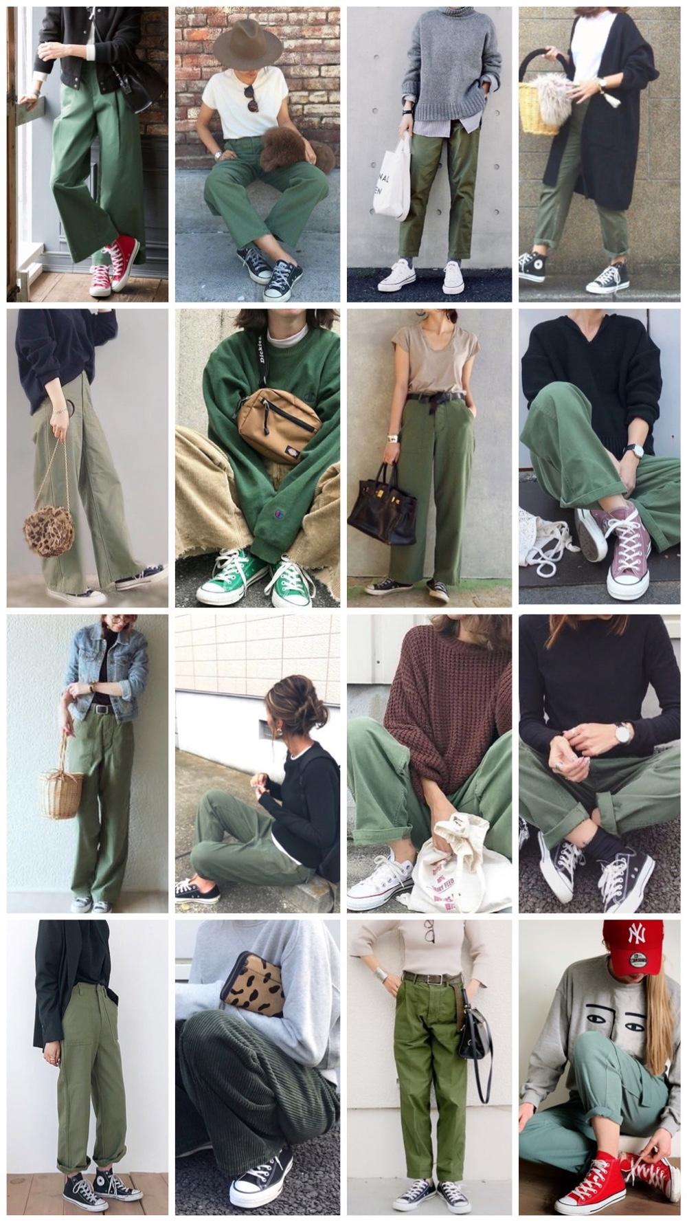 groene broeken en all stars outfitpost