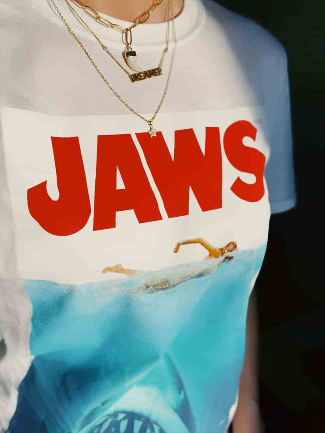 Jaws shirt and layering necklaces