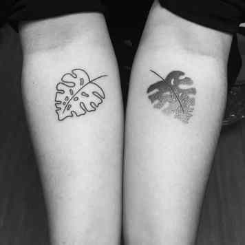 Monstera leave tattoo