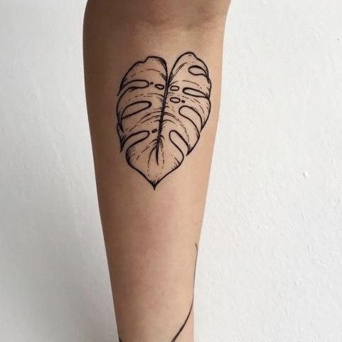 Leaf tattoo monstera plant