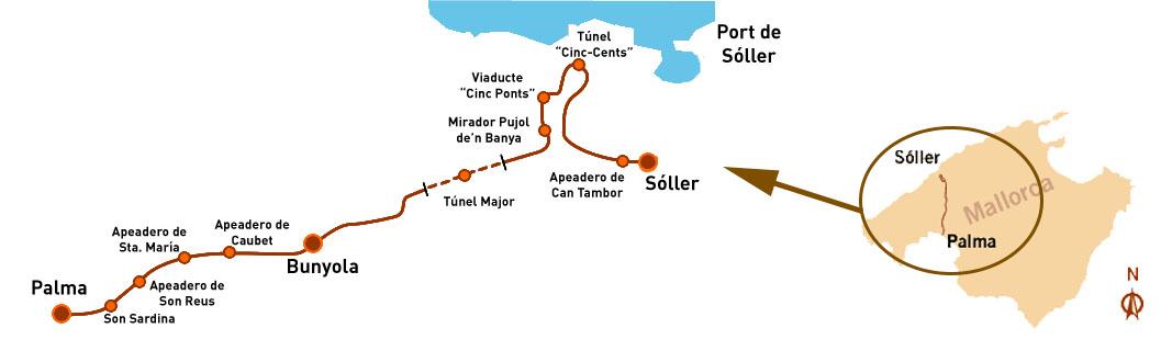 Tren de Soller map