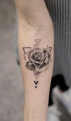 triangle tattoo rose