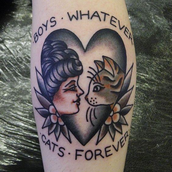 cat tattoo old school