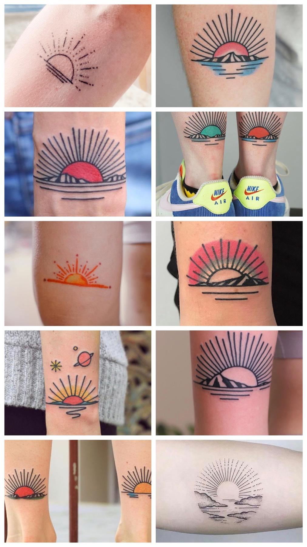 old school sun tattoos