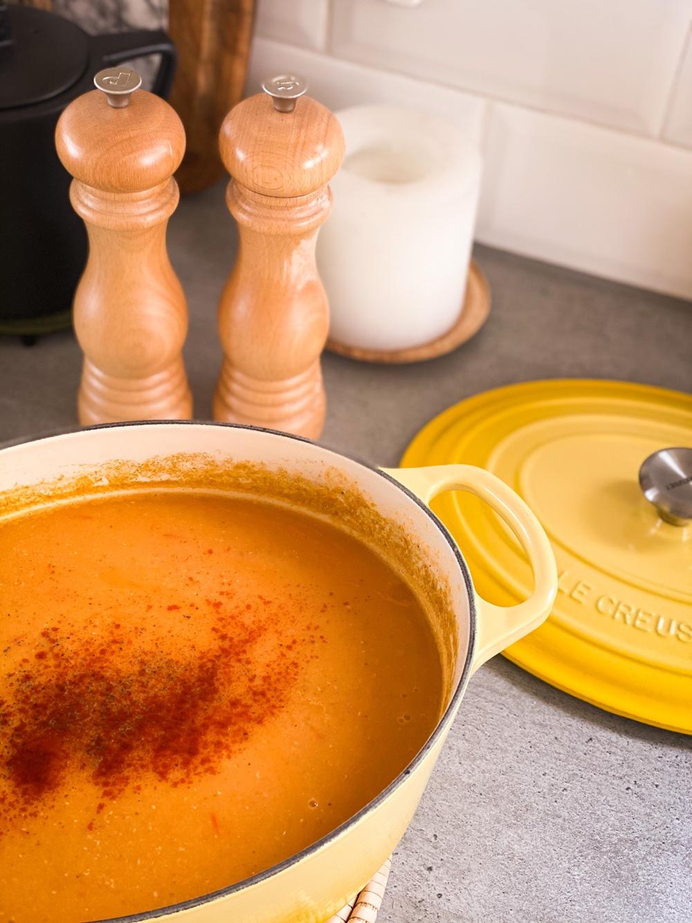 soeprecept met linzen en tomaat