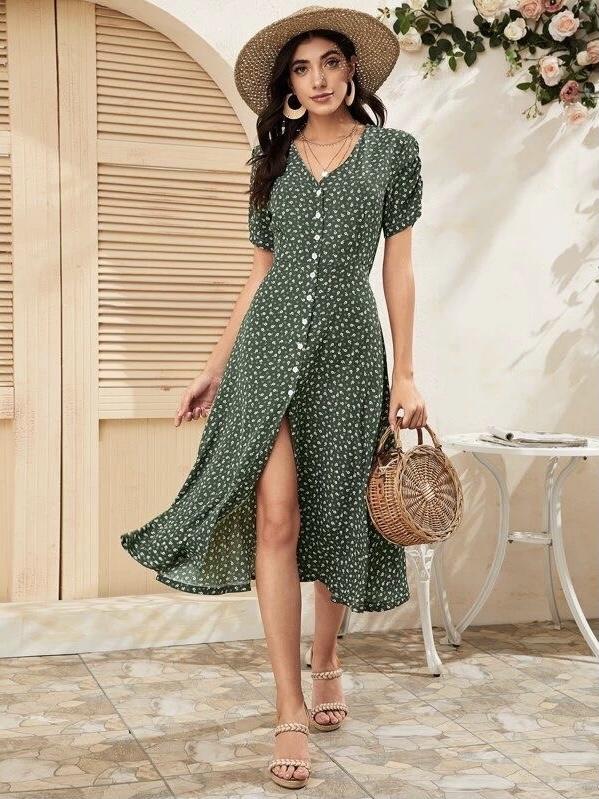 bloemetjes jurk groen