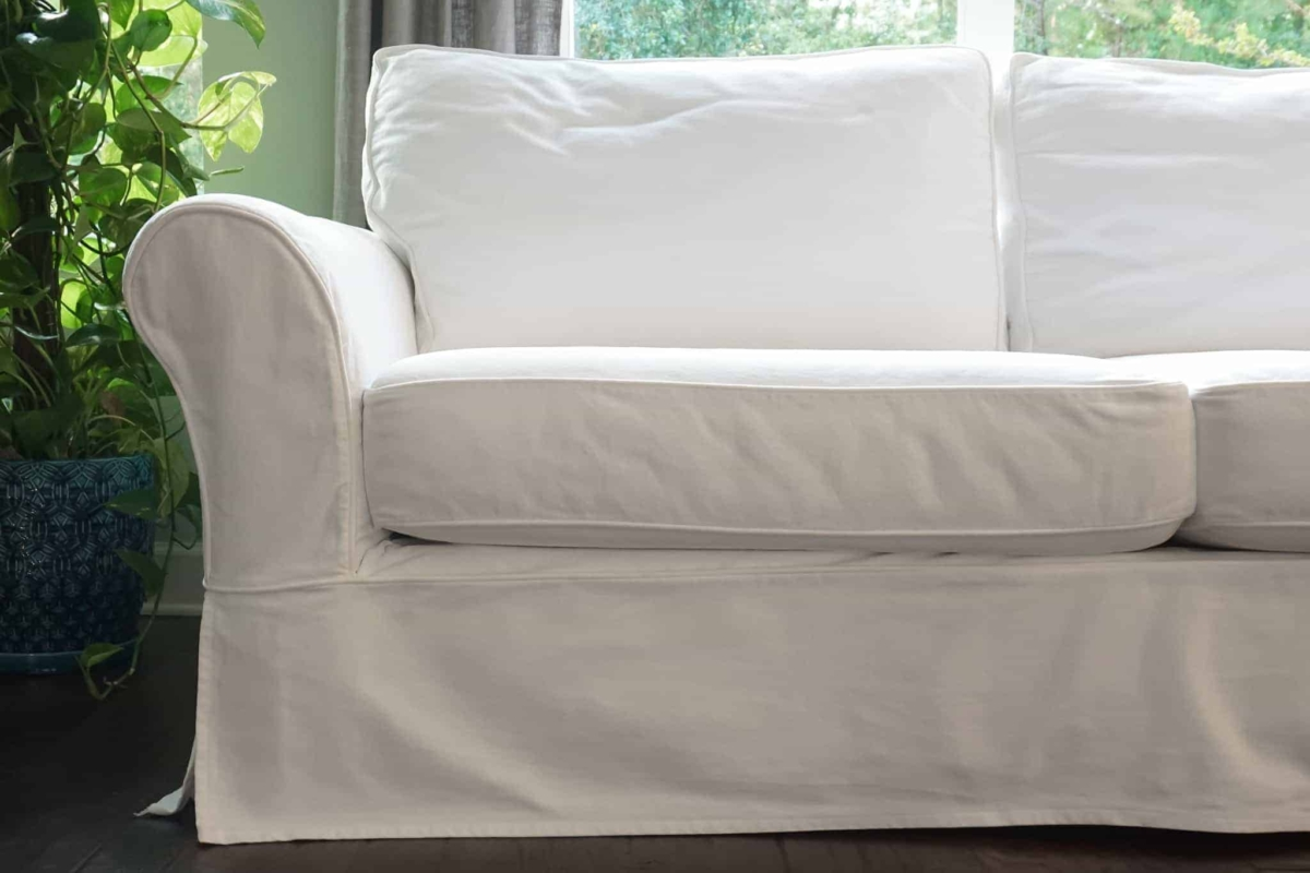 pottery barn leather sofa cleaning how to make a bed mattress more comfortable my slipcovered one happy