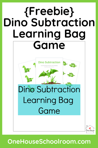 Dino Subtraction Learning Bag Game Freebie