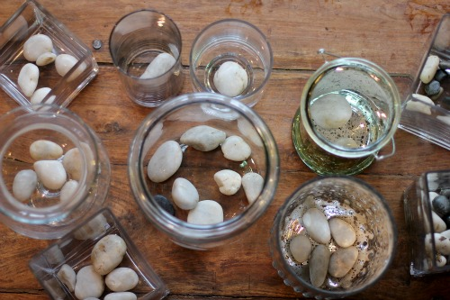 glass jars with rocks