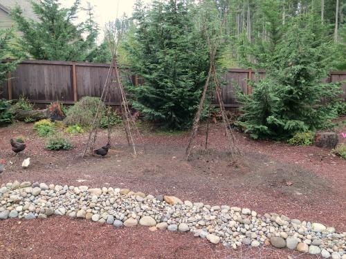 wooden teepee garden