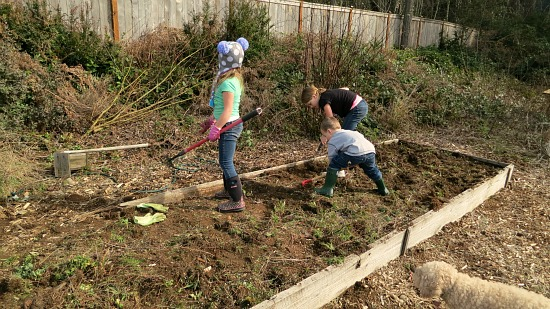 kids working in a garden