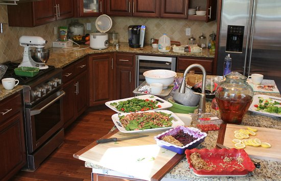 lunch for twenty people messy kitchen