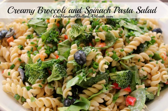 Creamy Broccoli and Spinach Pasta Salad  recipe