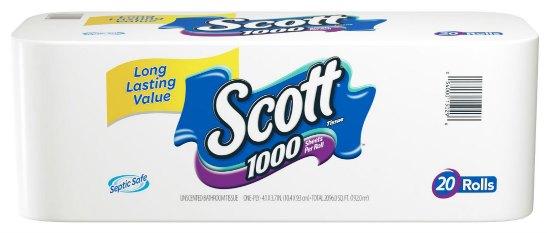 Scott Bath Tissue, 1000 Sheet Rolls