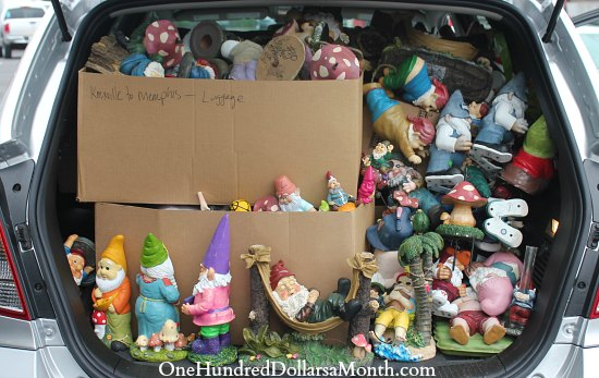 garden gnomes in trunk