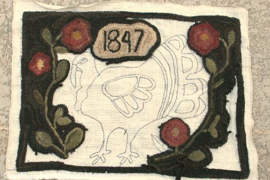 primitive turkey hooked rug
