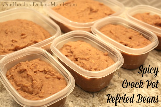 Spicy Crock Pot Refried Beans