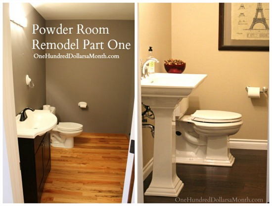 powder room remodle before and after