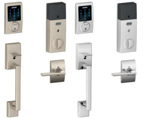 Connect Century Satin Nickel Touchscreen Deadbolt with Alarm and Handle set with Latitude Interior Lever