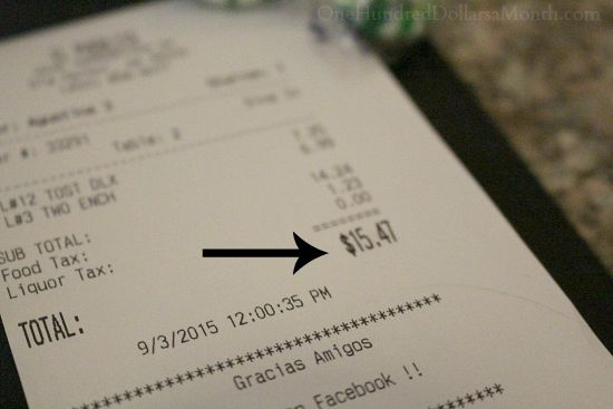 lunch receipt