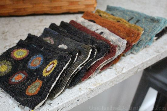 primitive hooked penny rugs