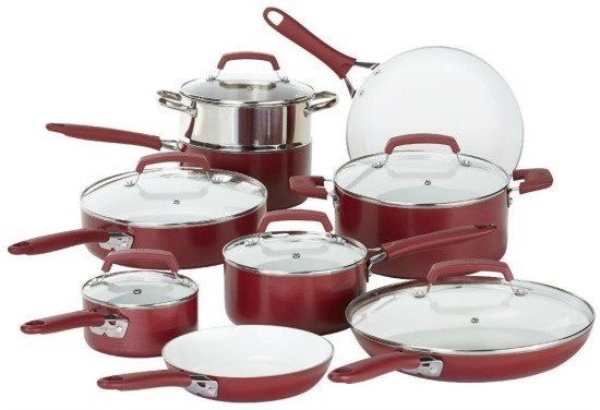 WearEver Nonstick Ceramic Coating, Dishwasher Safe 15 Piece Cookware Set