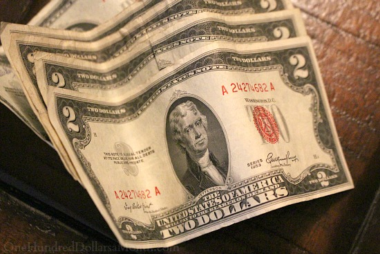 2 dollar bill red ink