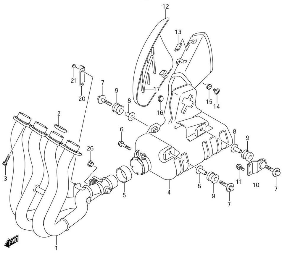 hight resolution of  diagram 2001 gsxr 750 18 muffler gasket boltsmuffler gasket bolts