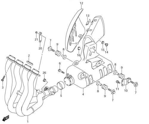 small resolution of  diagram 2001 gsxr 750 18 muffler gasket boltsmuffler gasket bolts