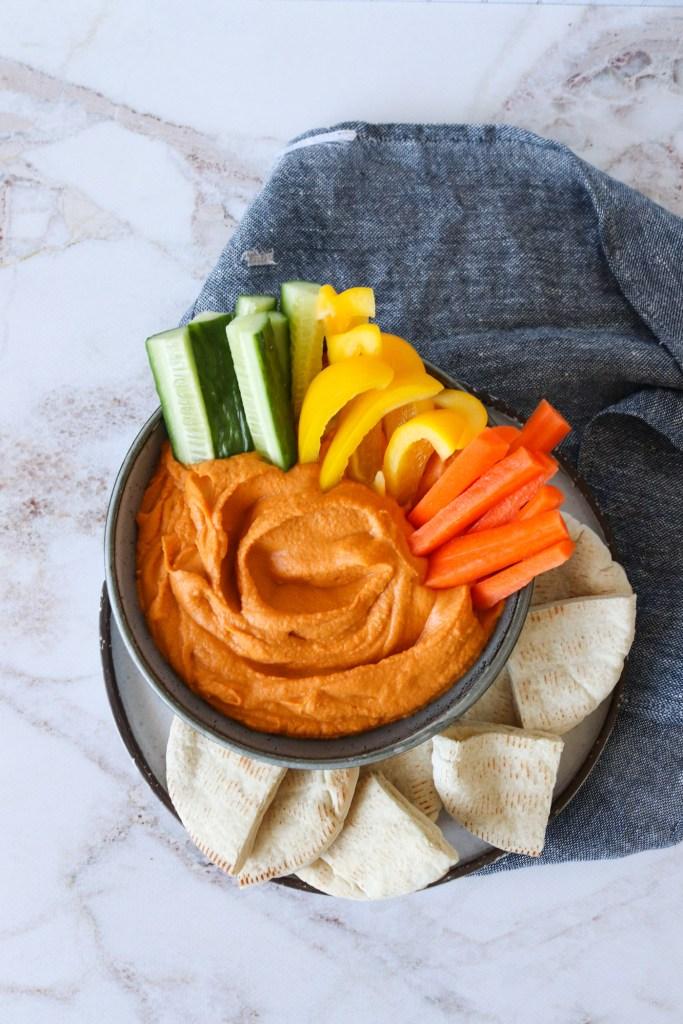 Hummus Med Bagt Peberfrugt - Opskrift På Hummus