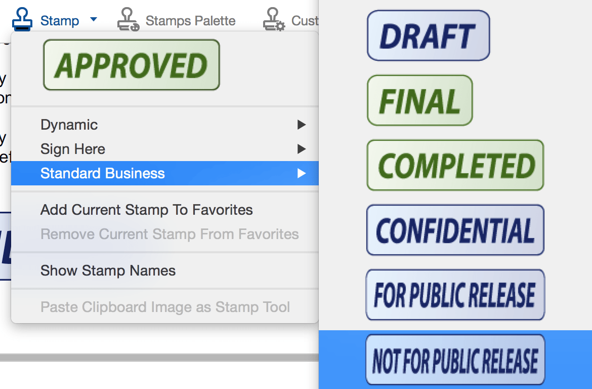 Adobe stamps feature