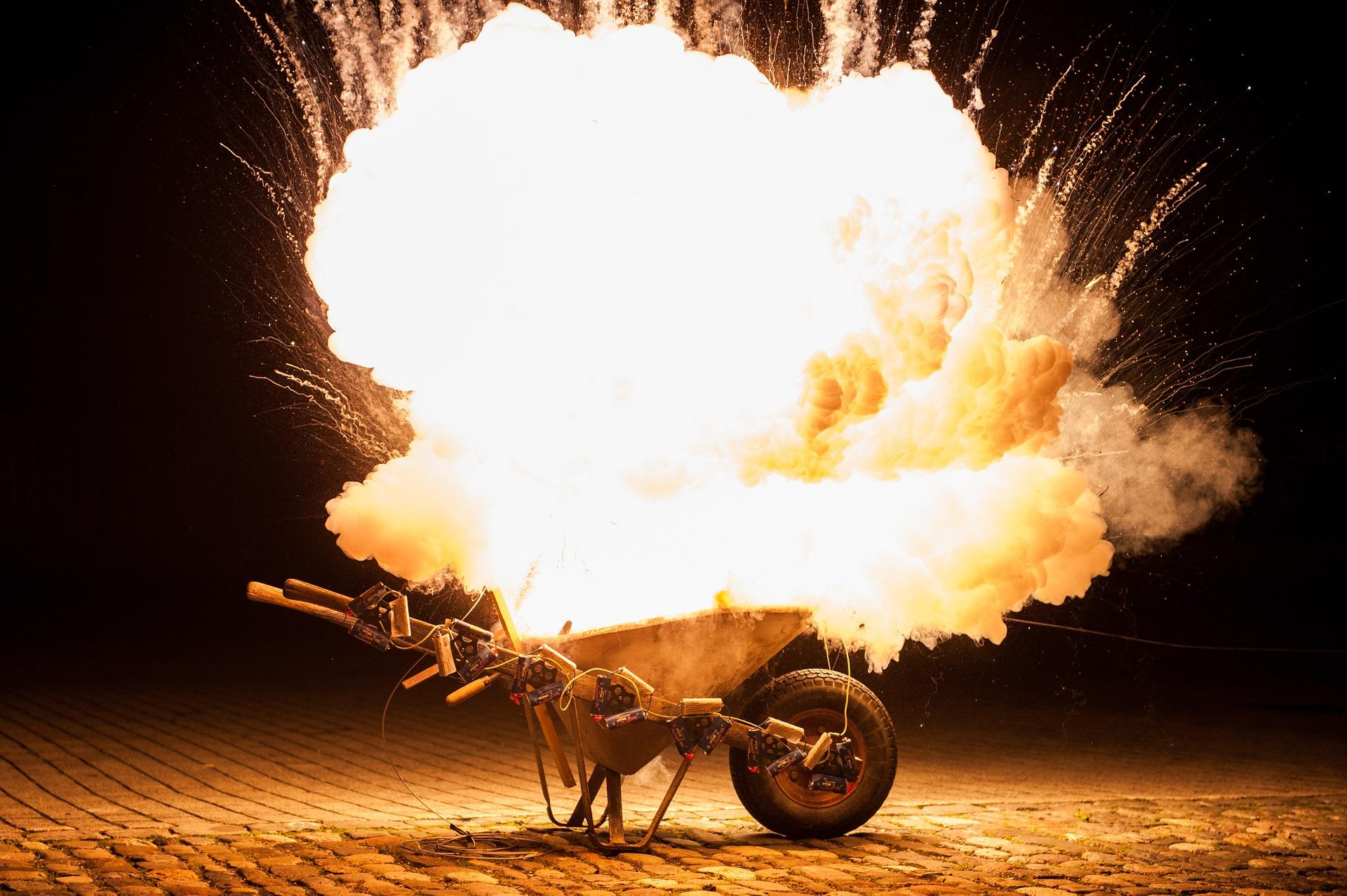 fireworks in wheelbarrow